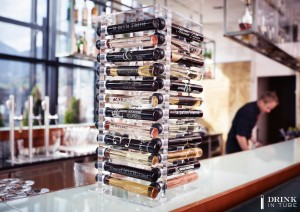 Luxury Hotel Wine Bar with the Drink in Tube Transparent Tower
